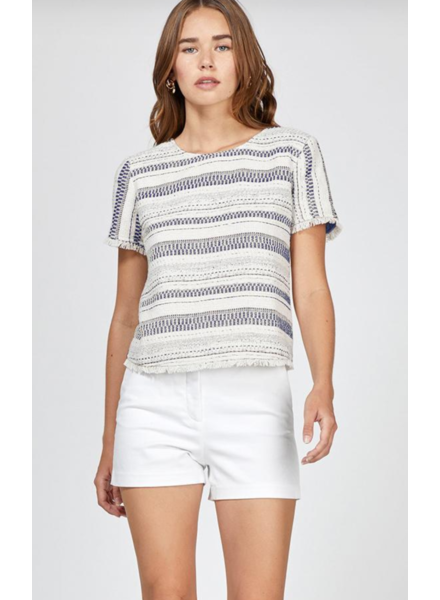 Greylin Greylin Tati Stripe Jacquard Fringe Top w/ back Button detail