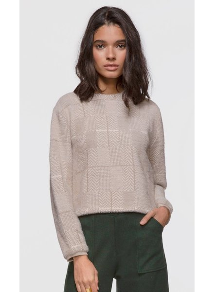 Greylin Mallory Herringbone Soft Knit Fuzzy Sweater