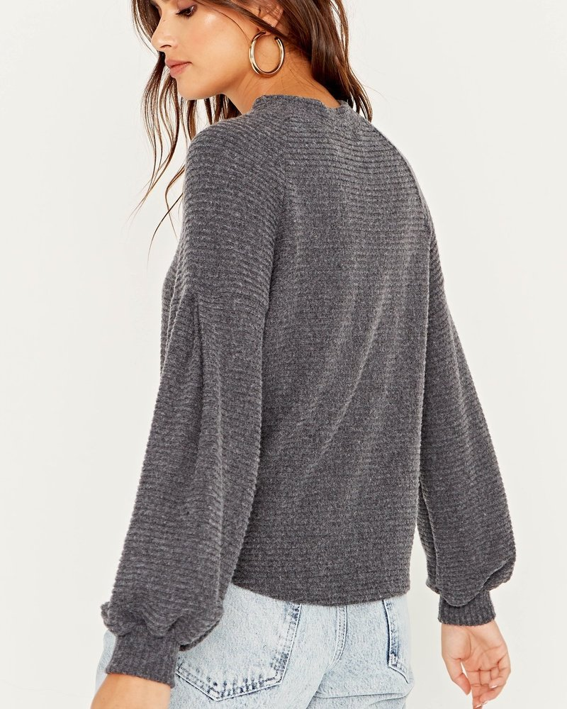PROJECT SOCIAL T Emberly Cozy Ribbed Pleat Sleeve
