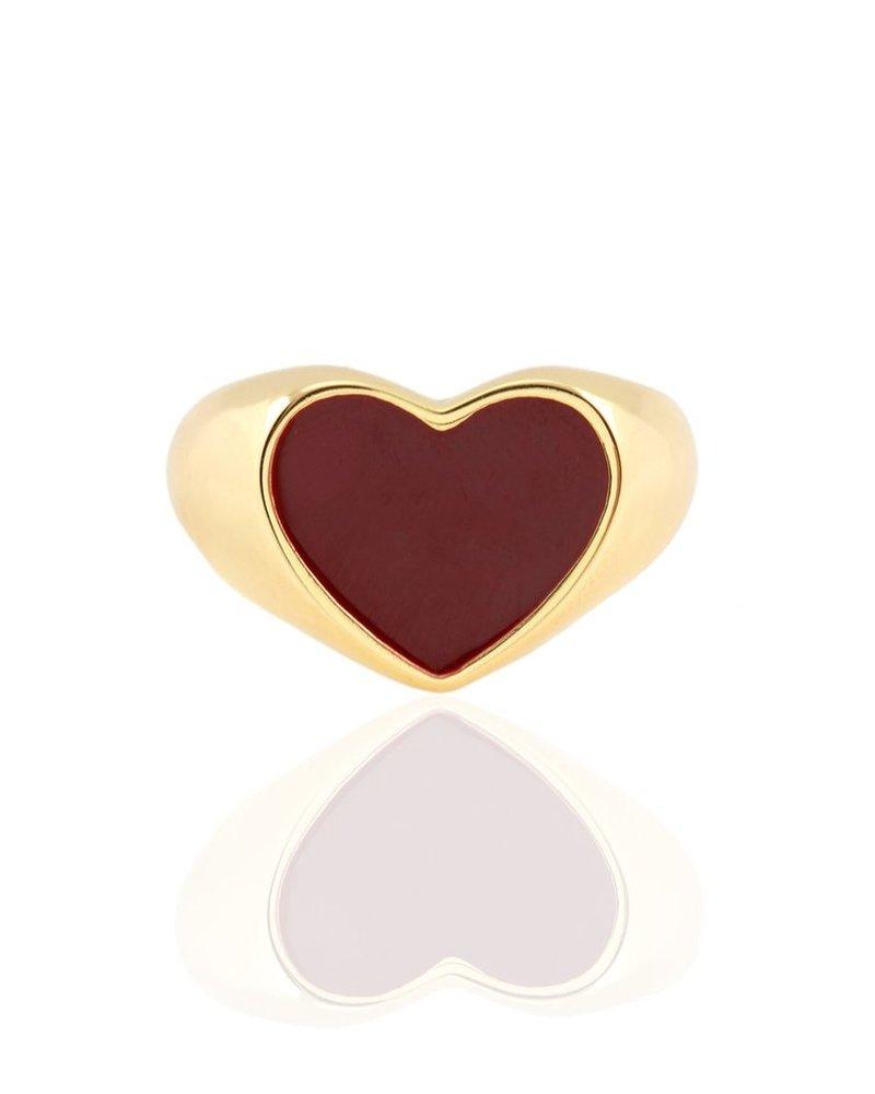 Kris Nations Heart Enamel Signet Ring