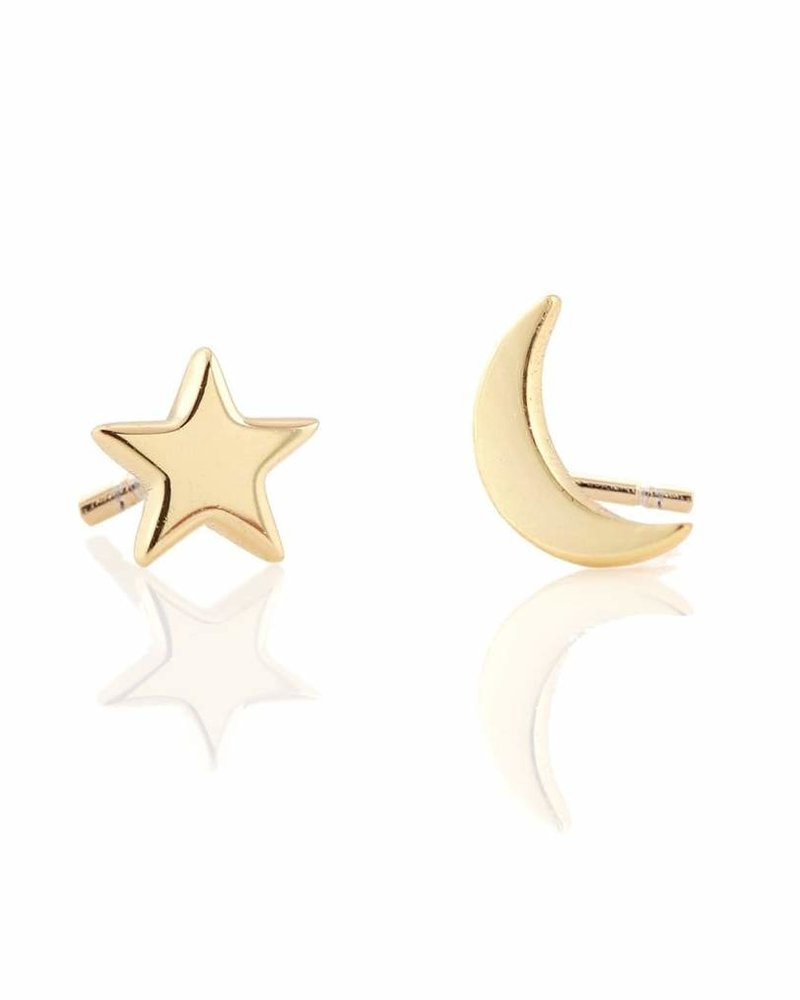 Kris Nations Star and Moon Stud Earrings