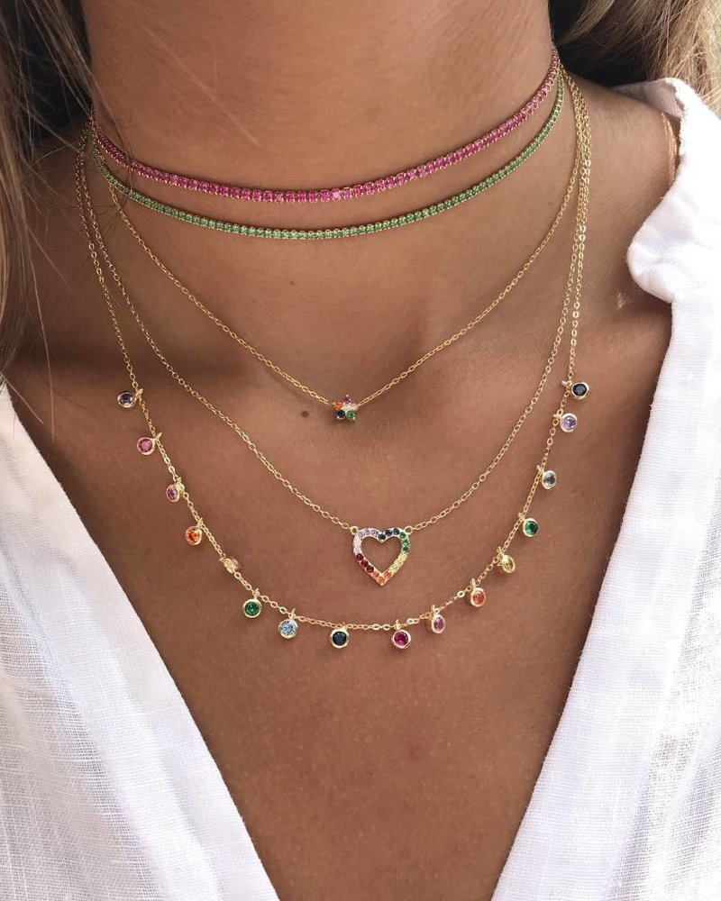 Adina Jewels Rainbow Heart Necklace
