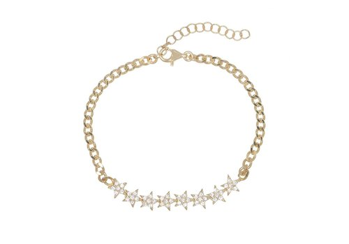 Adina Jewels Stars Cuban Chain Bracelet