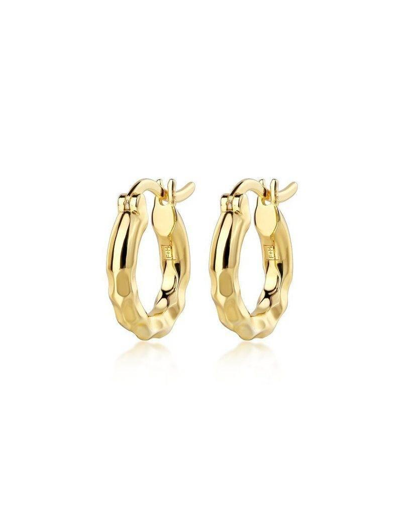F+H JEWELLERY F+H LOW RIDER HAMMERED HOOP EARRING