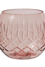 Etched Glass Votive Holder - Rose