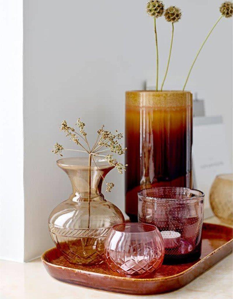 Etched Glass Votive Holder - Rose