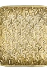 7''Square Decorative Embossed Cast Aluminium Tray - Gold Finish
