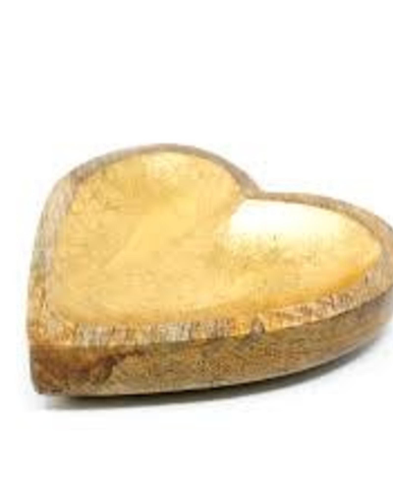 Assiette Coeur en Bois Manguier - Fini Doré