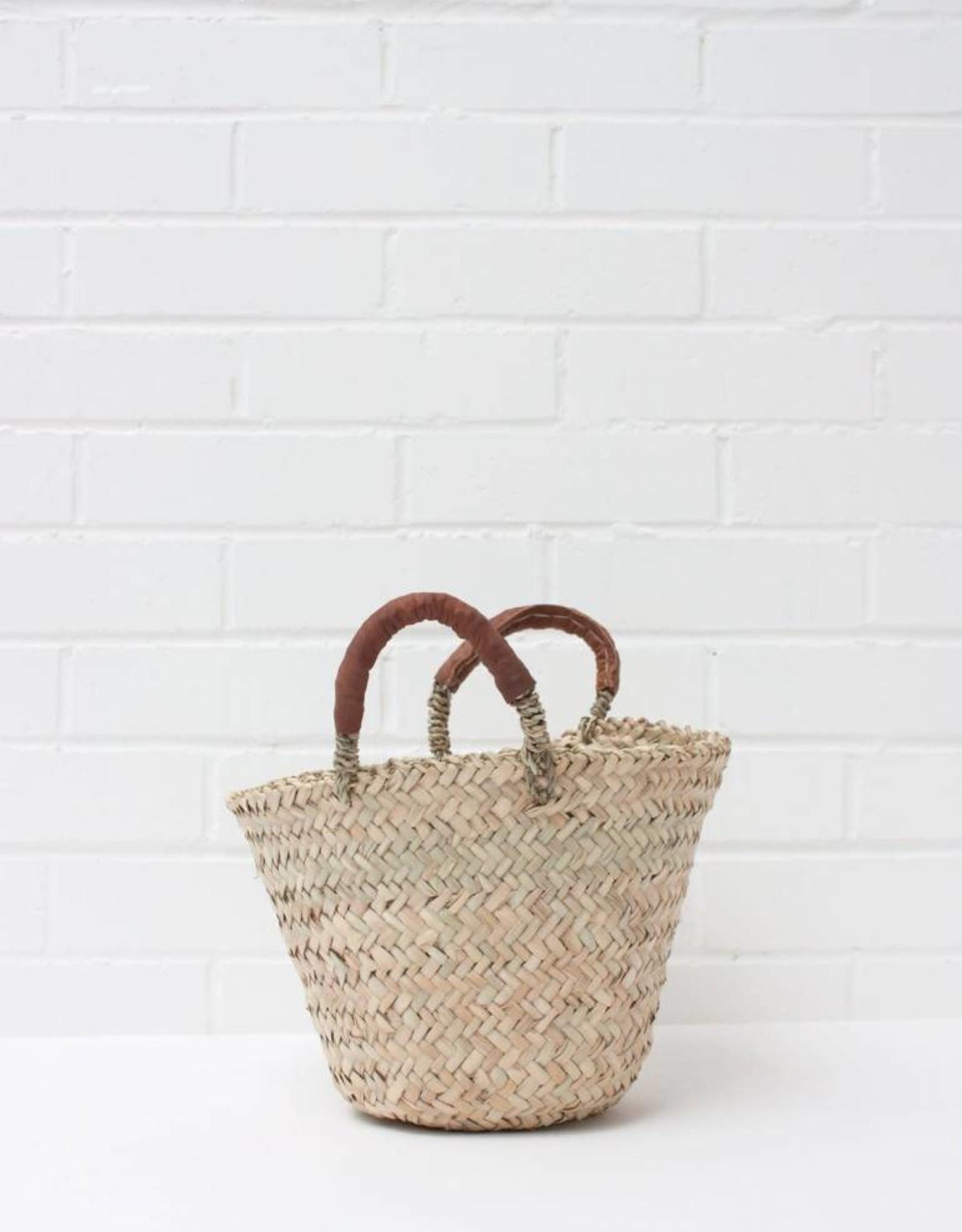Beldi Leather Basket - Tan - Small