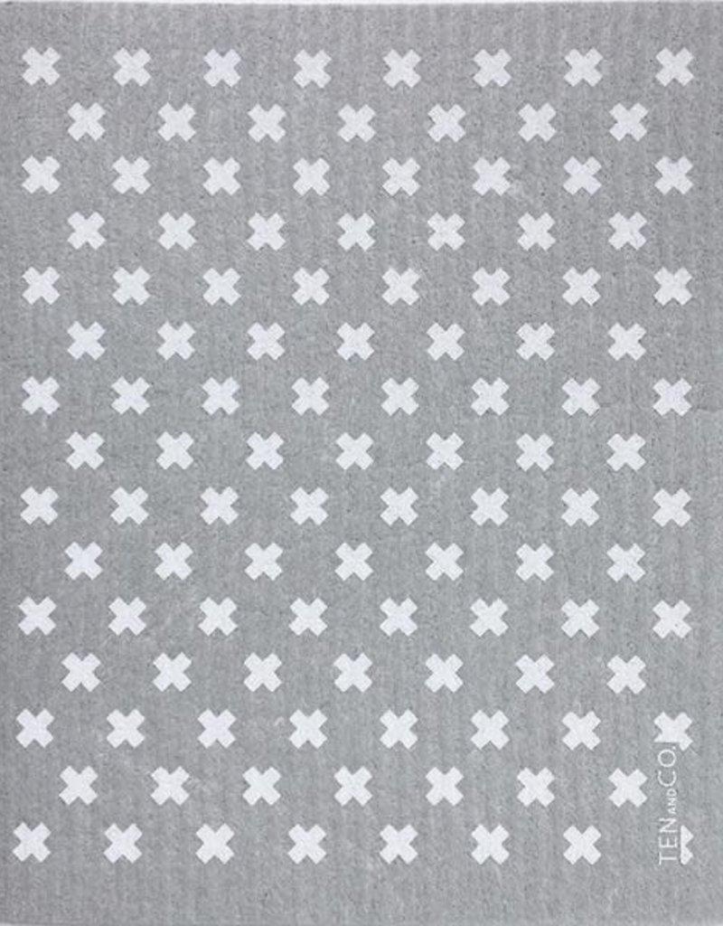 Ten and Co. Essuie-Tout Réutilisable - Petit X - Gris