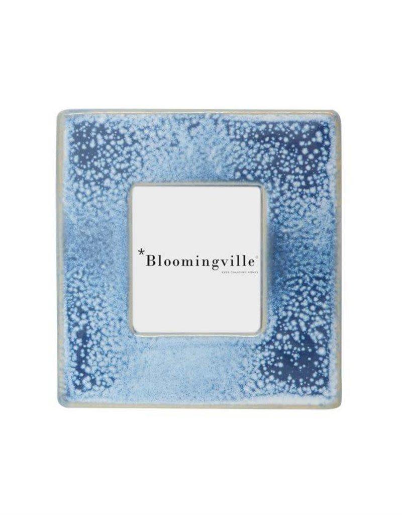 Cadre carré en grès à émail réactif de 6 po - Bleu