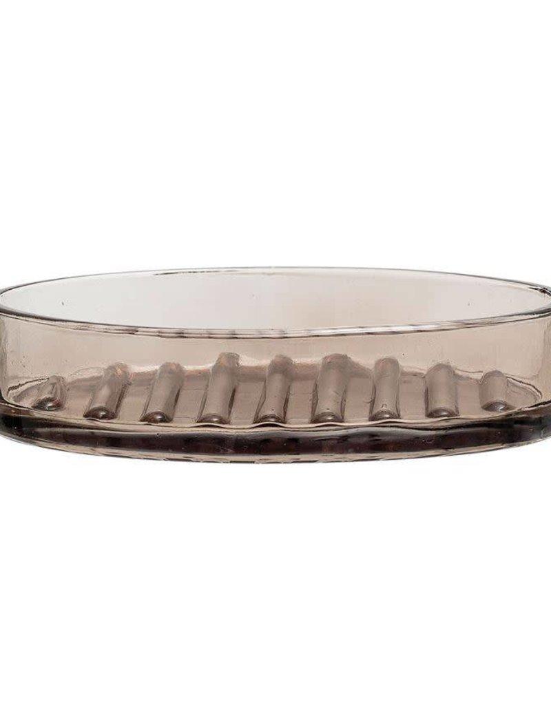 Glass Soap Dish w/ Bamboo Tray - Smoke