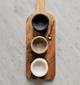 Bloomingville Acacia Wood Board w/ 3 Marble Pinch Pots & Brass Spoon