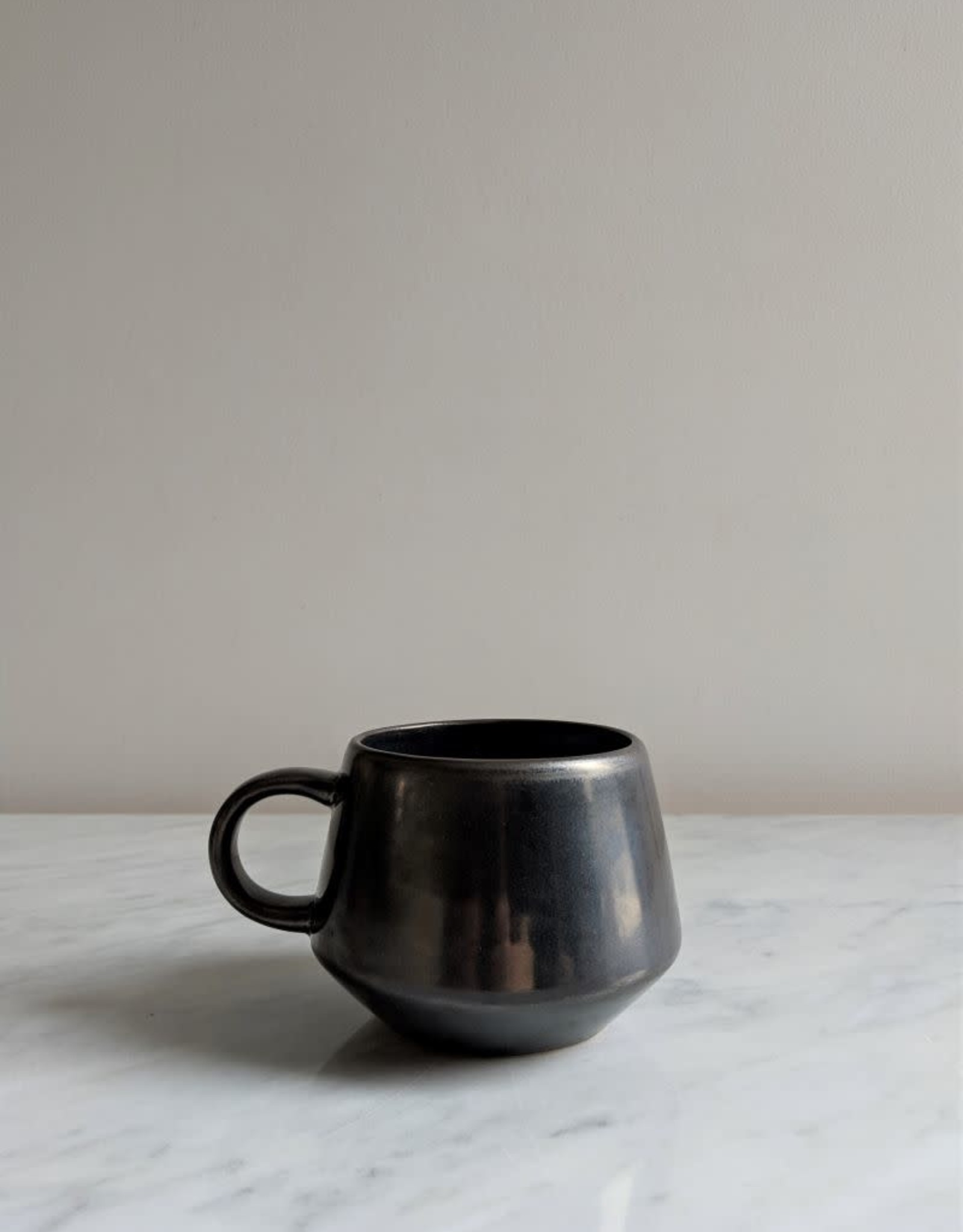 Stoneware Mug, Black Metallic Glaze 12oz