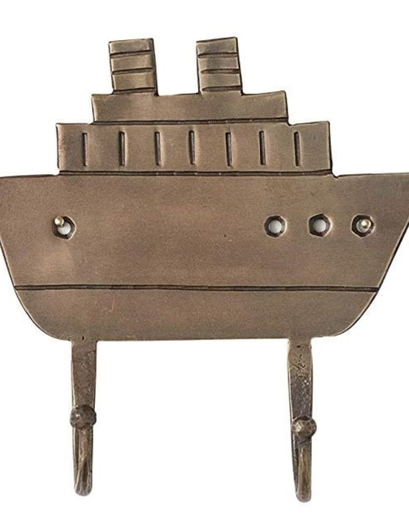 Metal Ship Wall Hanger - Antique Brass Finish