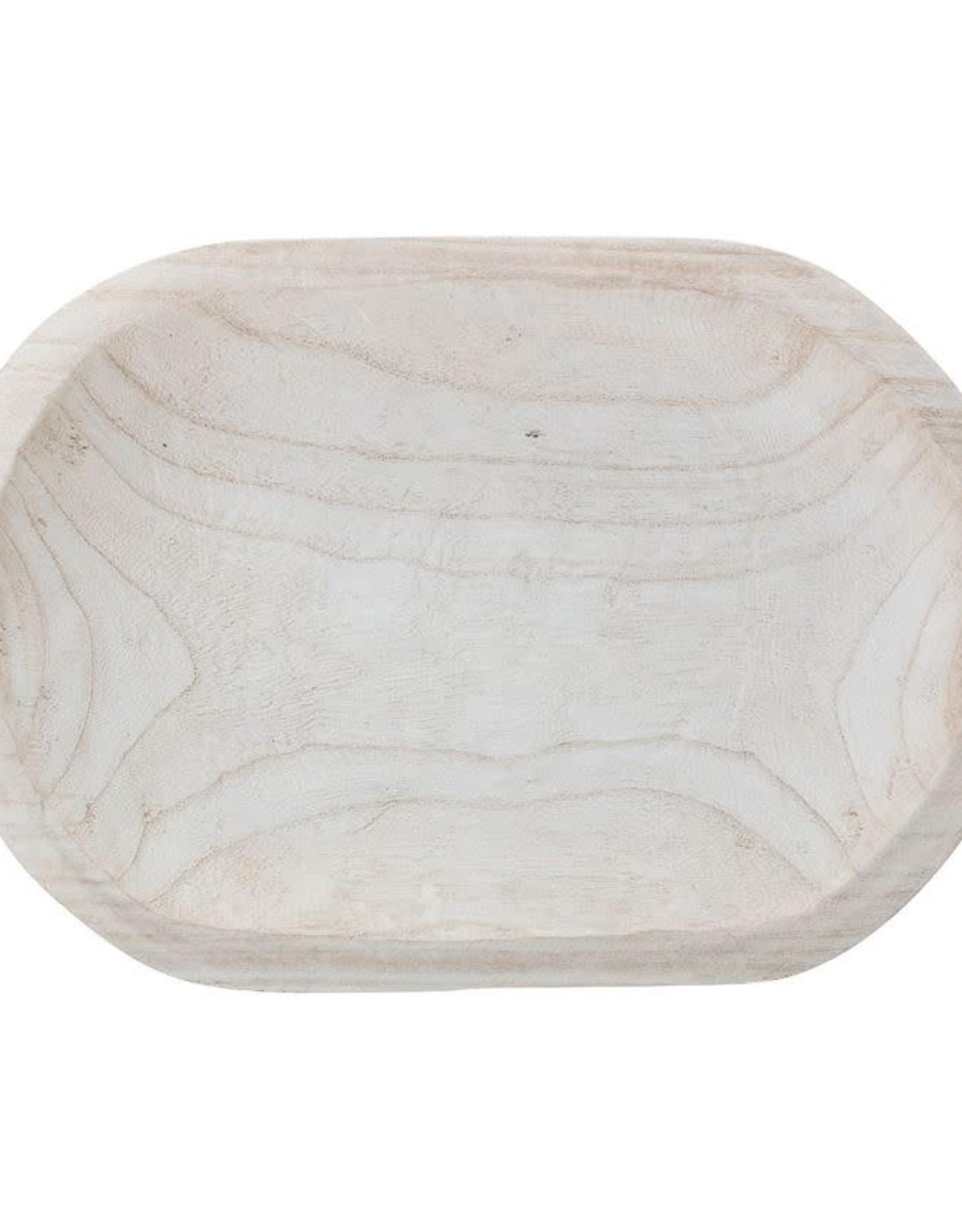 Decorative Hand-Carved Paulownia Wood Bowl - Whitewashed