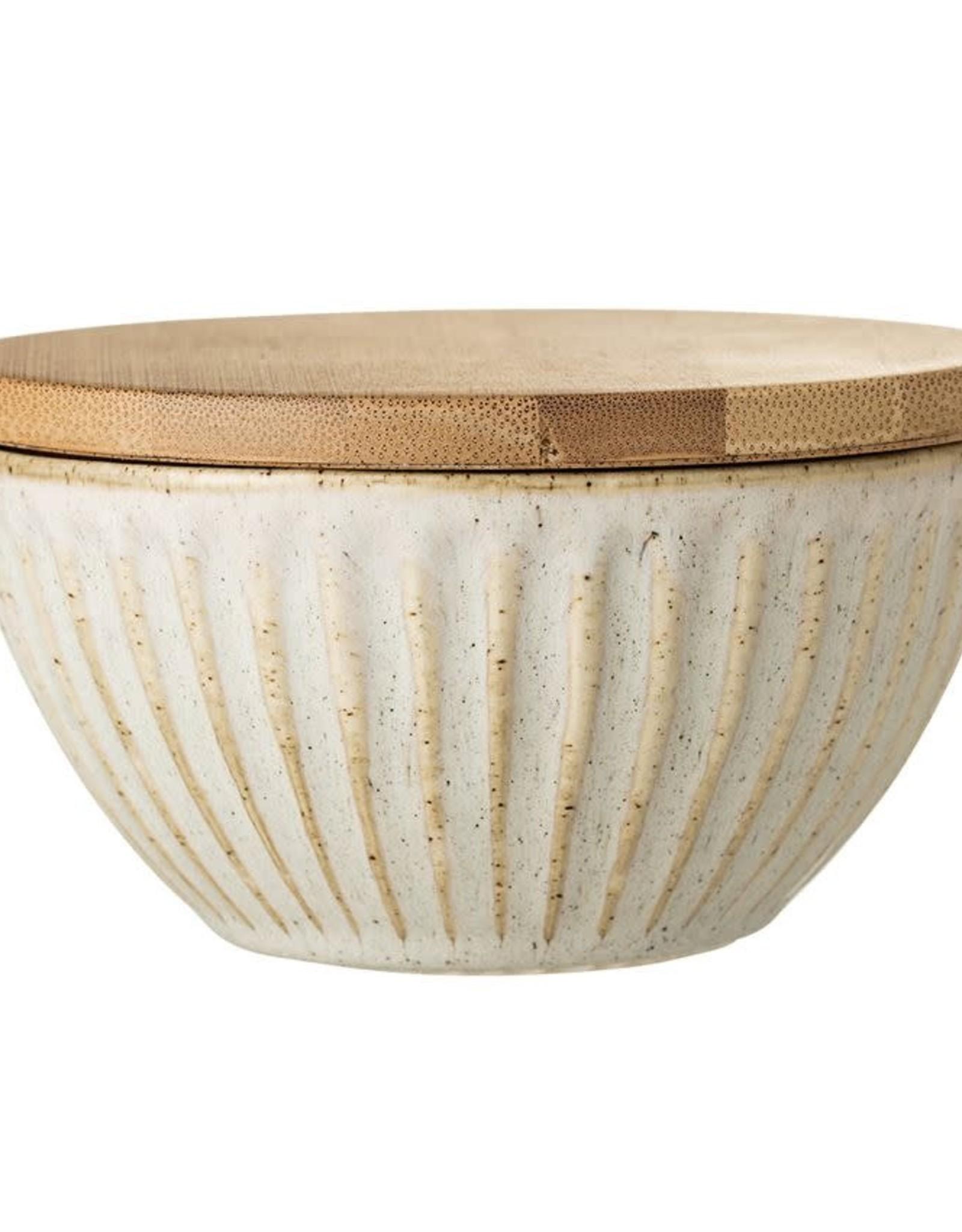Bol en Grès avec Couvercle Bambou - Crème