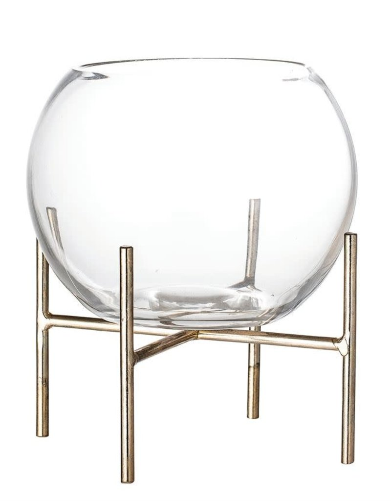 Glass Vase/Planter w/Metal Stand - Distressed Gold