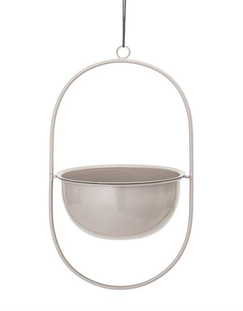 Enameled Metal Hanging Planter - Grey