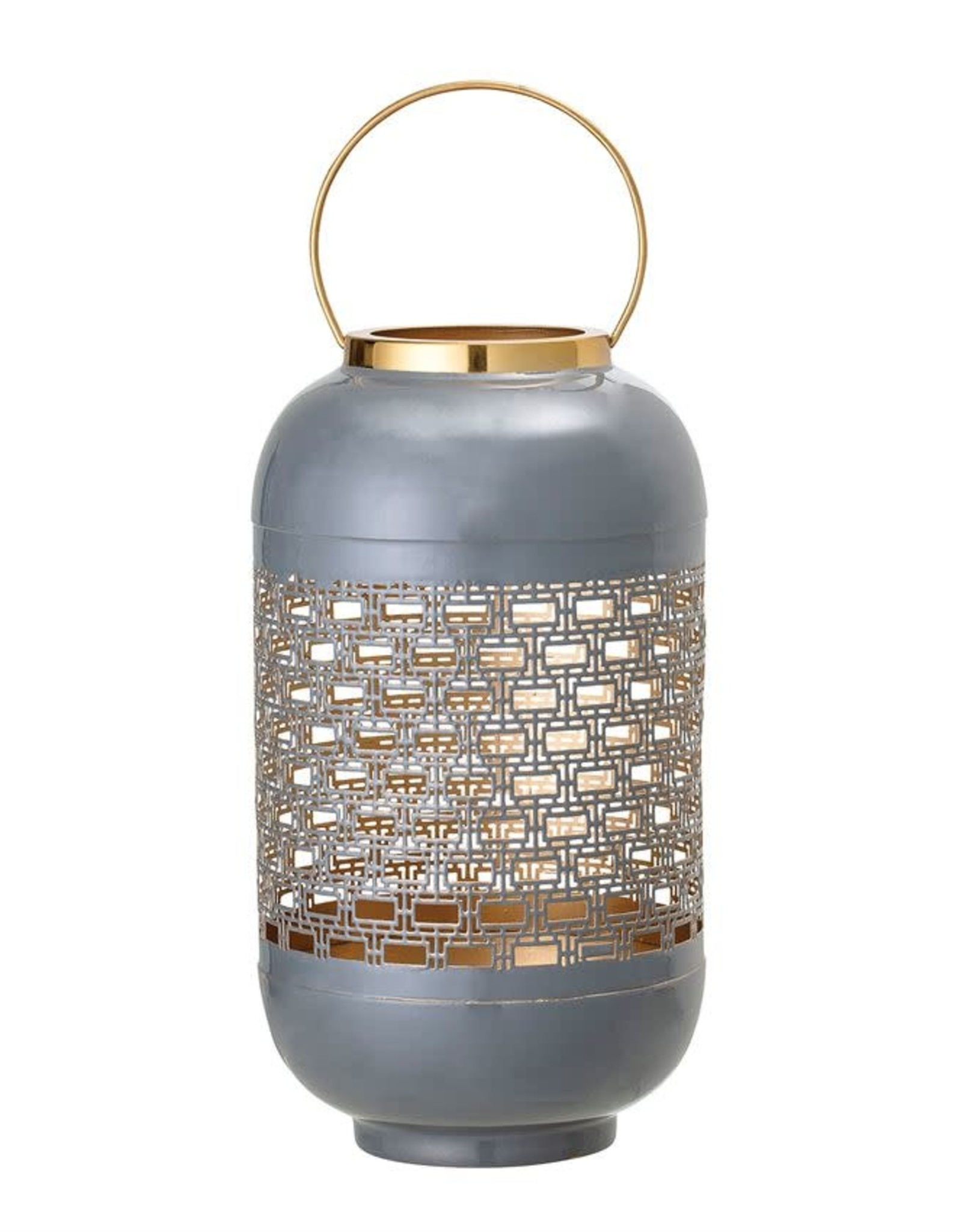 Enameled Punched Metal Lantern w/ Brass Finish Handle, Grey