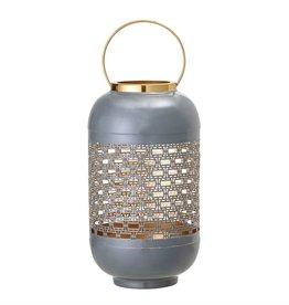 Enameled Punched Metal Lantern w/ Brass Finish Handle, Grey