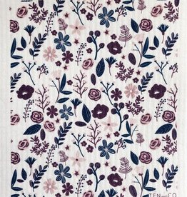 Ten and Co. Sponge Cloth - Floral Mauve