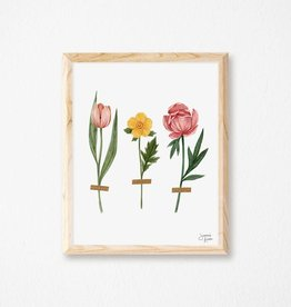 Joannie Houle Three Flowers - Art print