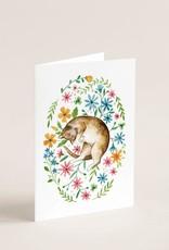 Joannie Houle Carte Souhait - Chat et Tapis de Fleurs