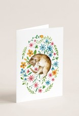 Joannie Houle Greeting card - Cat and flower carpet
