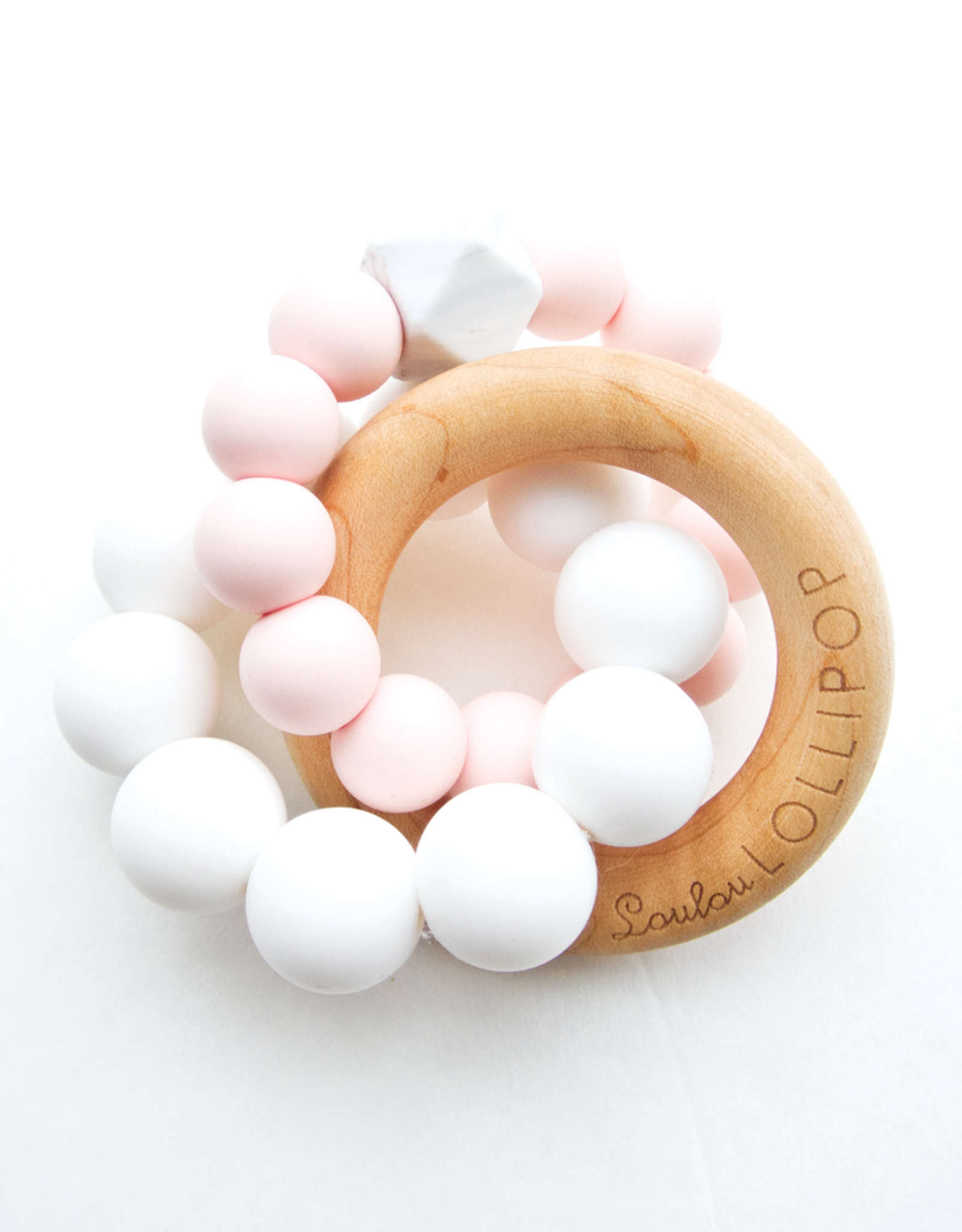 Loulou Lollipop Trinity Silicone and Wood Teether - Pink Quartz