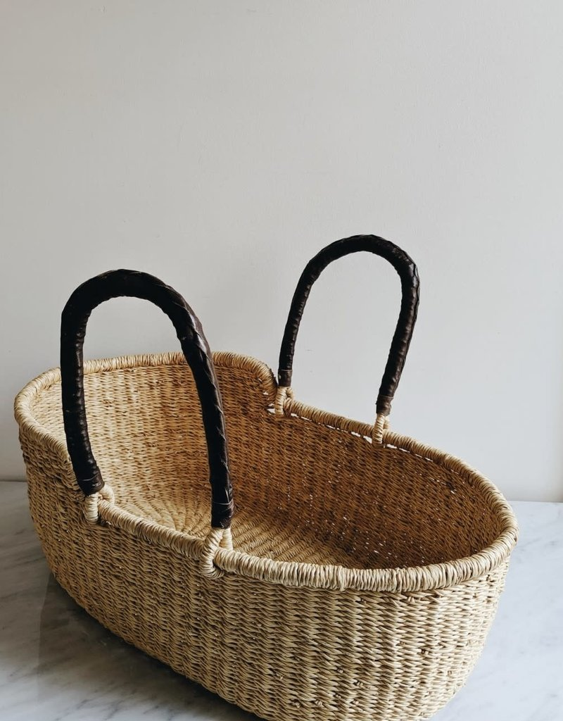 Natural Handmade Doll Bassinet with Leather Handles