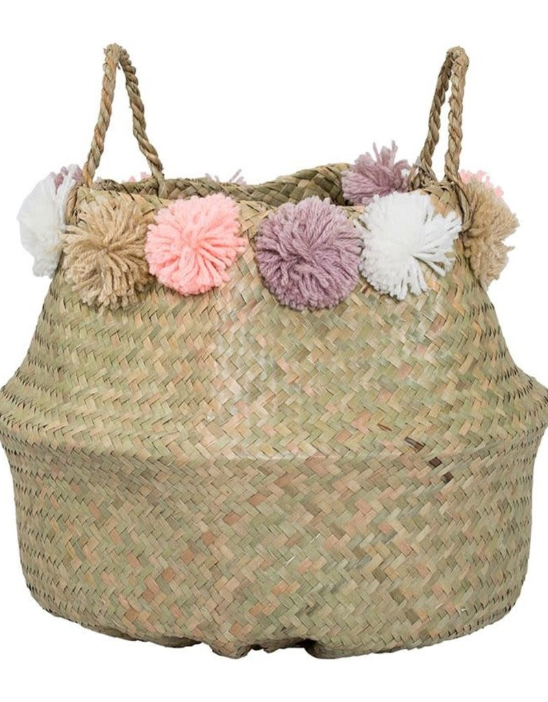 Natural Seagrass Basket w/Handles & Pom Poms - Pink