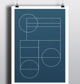 Toffie L'Affichiste Poster Blue Geo