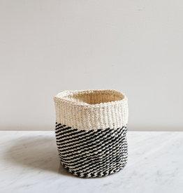 Panier en Sisal Noir et Crème - Petit