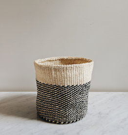 Black Twill Sisal Basket - Medium