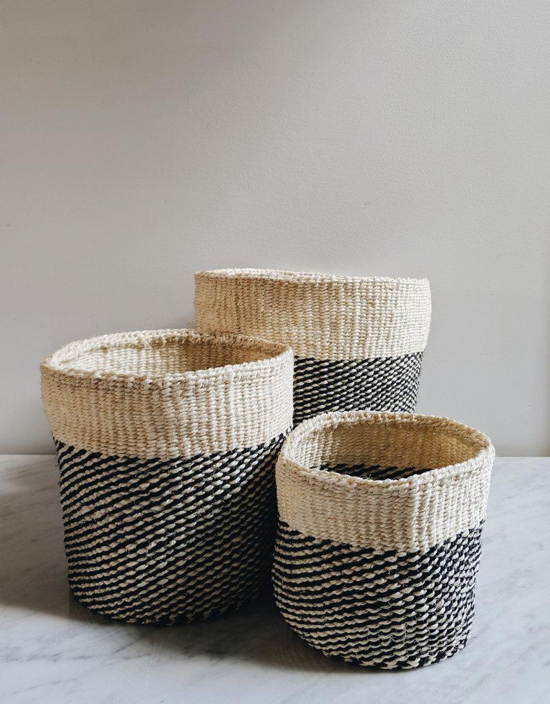 Black Twill Sisal Baskets - Large
