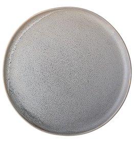 Assiette ronde en grès - Gris mat - 7-3/4''
