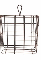 "7""Sq Metal Wire Basket, Rust Finish"