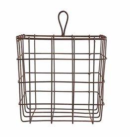 "7""Sq Metal Wire Basket, Rust Finish"