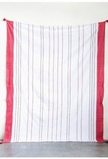 Nappe rayée avec pompons - Rouge