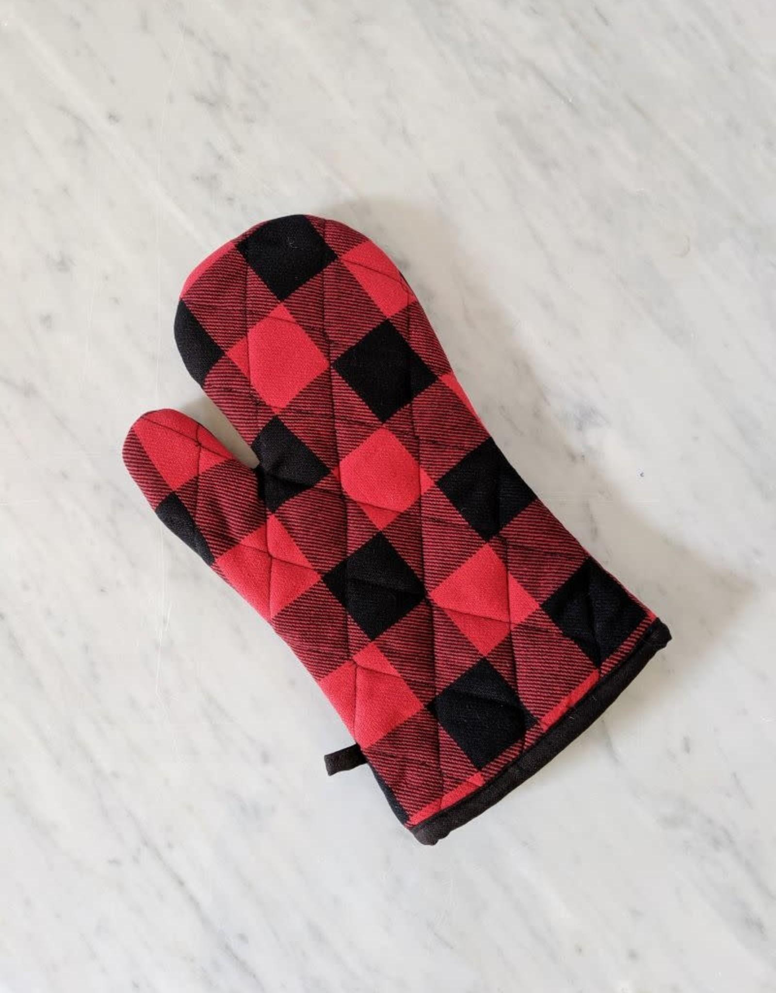 Mitaine de Four - Carreaux Noir et Rouge