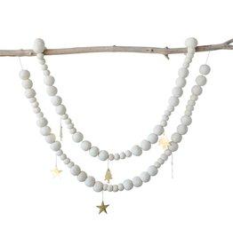 Guirlande en feutre avec ornements en métal - Étoiles
