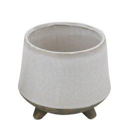 Stoneware Planter with Feet - White