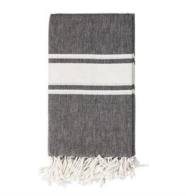 Woven Cotton Throw w/Stripes - Black and White