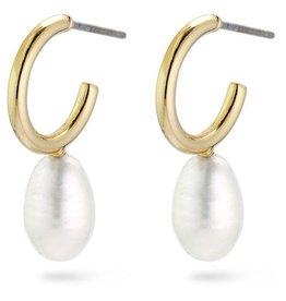 Pilgrim Urd Gold Plated Pearl Hoops