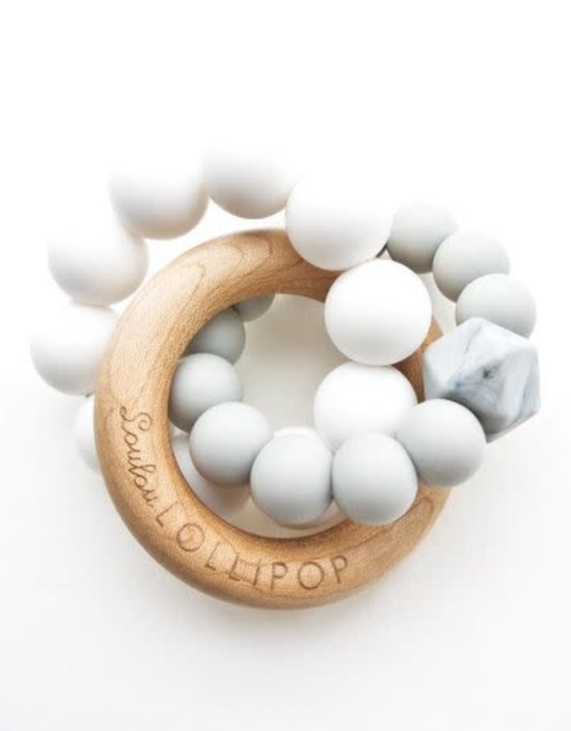 Loulou Lollipop Trinity Silicone and Wood Teether - Cool Gray