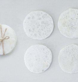 Dessous de verre en quartz blanc - Lot de 4