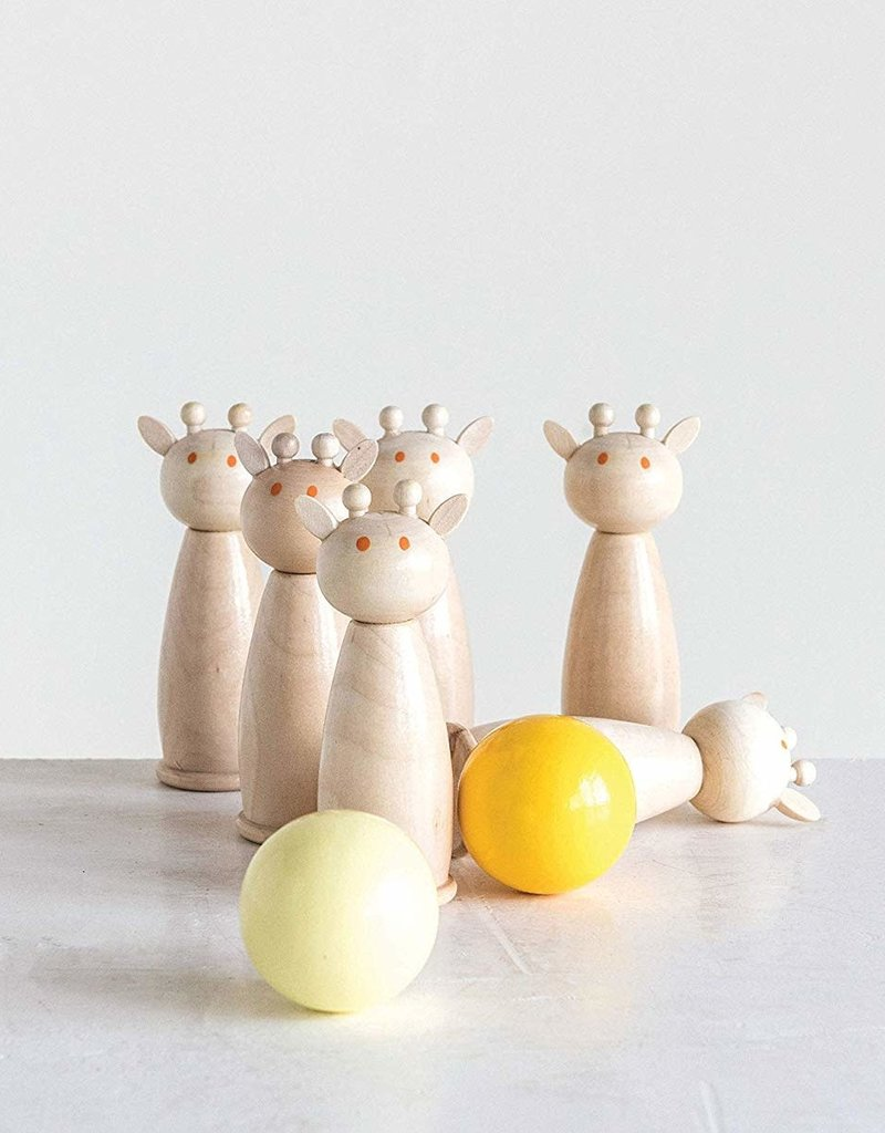 Wooden Giraffe Bowling Game