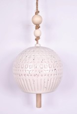 Stoneware Bell - White w/ Wood Beads