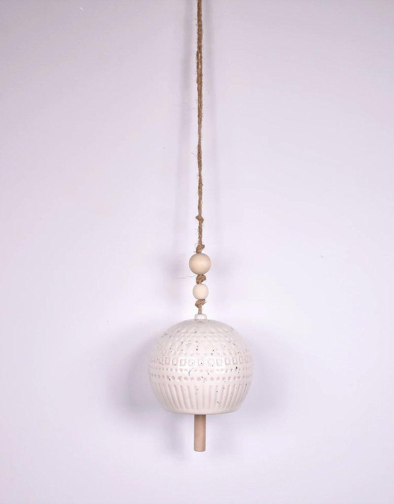 Stoneware Bell - White w/ Wood Beads